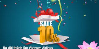 Vietnam Airlines giảm 10% giá vé máy bay kỷ niệm 24 năm thành lập