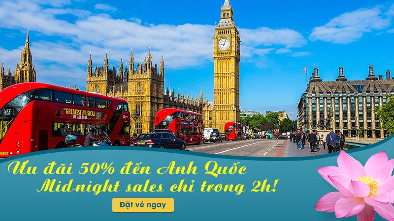 Khuyến mãi Mid-night, Vietnam Airlines giảm giá 50% vé máy bay đi Anh