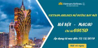 Bay thẳng Hà Nội – Macao chỉ 69 USD khuyến mãi Vietnam Airlines
