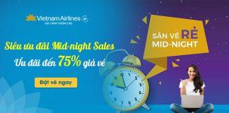 Vietnam Airlines khuyến mãi Mid – Night Sales giảm đến 75% giá vé